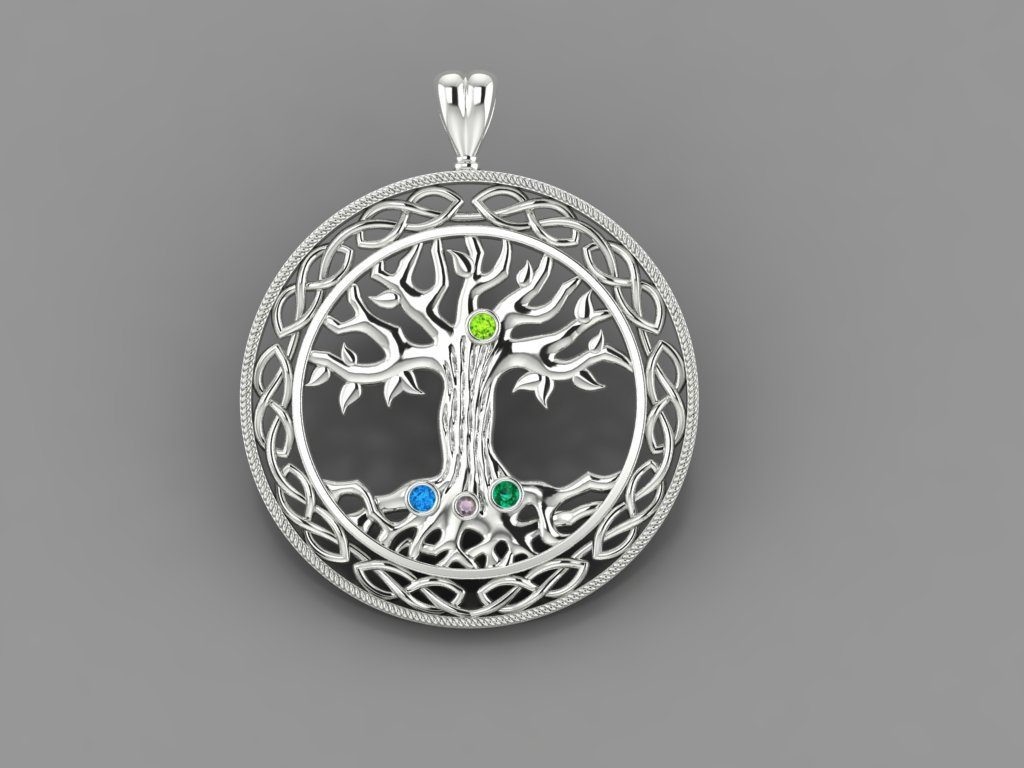 Custom pendant from tree with four gems made by DiamondByMe