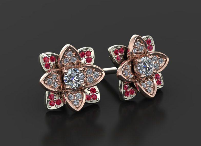 Flower earrings made by Diamondsbyme