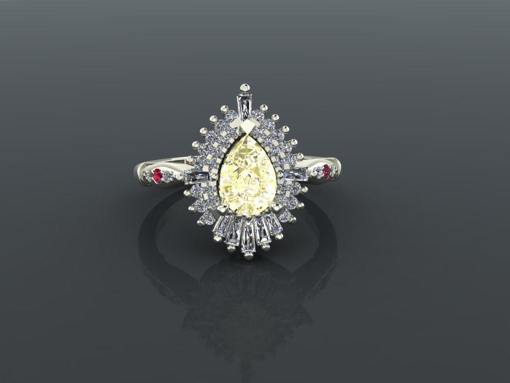 Pear shaped diamond engagement ring gemaakt door Diamondsbyme