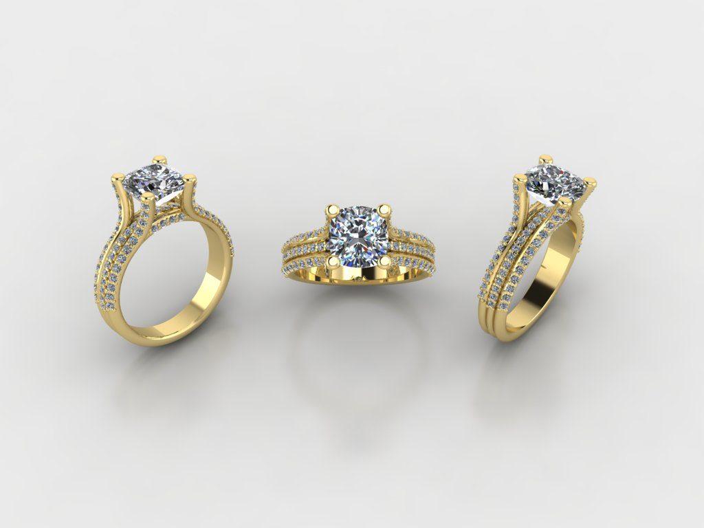 Custom diamond engagement ring yellow gold